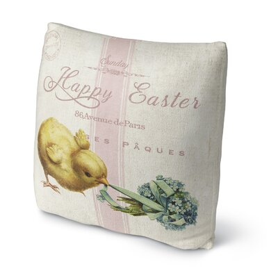 Happy Easter with Little Chic Throw Pillow Size: 16