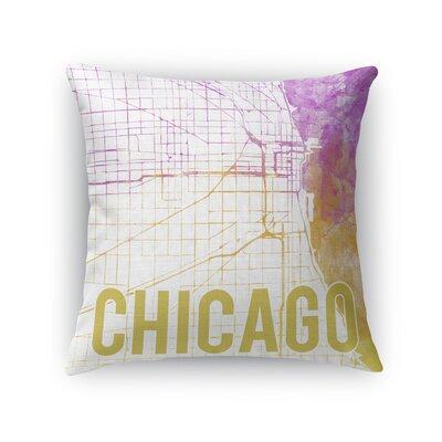 Chicago Sunset Front Throw Pillow Color: Pink, Size: 18 H x 18 W x 5 D