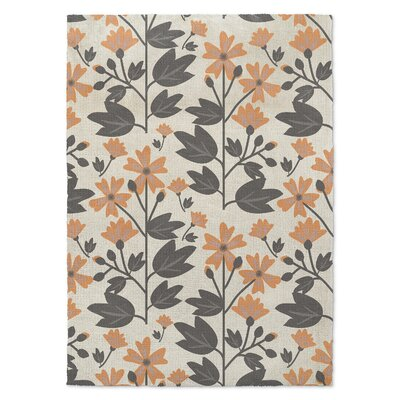 Bunny Love Deux Orange/Gray Area Rug Rug Size: 5 x 7