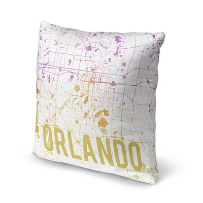 Orlando Sunset Front Accent Pillow Size: 16 H x 16 W x 5 D, Color: Purple/ Gold/ White