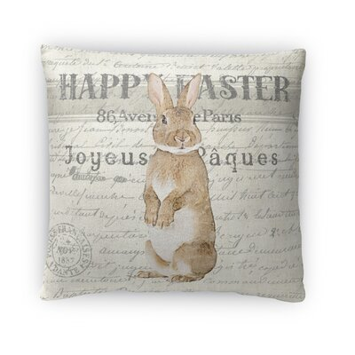 Happy Easter Throw Pillow Size: 16 H x 16 W x 4 D
