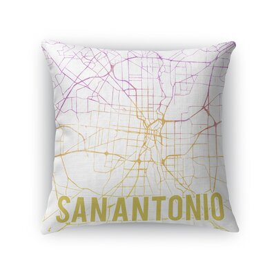 San Antonio Sunset Front Throw Pillow Size: 16 H x 16 W x 5 D, Color: Pink