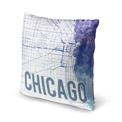 Chicago Sunset Front Accent Pillow Size: 24 H x 24 W x 5 D, Color: Blue/ Purple/ White