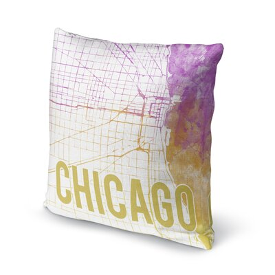 Chicago Sunset Front Accent Pillow Size: 24 H x 24 W x 5 D, Color: Pink/ Purple/ Gold/ White