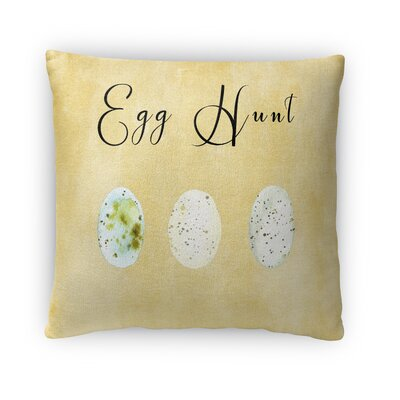 Egg Hunt Throw Pillow Size: 16 H x 16 W x 4 D, Color: Yellow