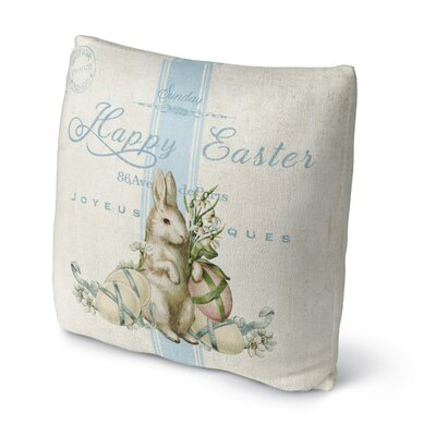 White Easter Bunny with Eggs Throw Pillow Size: 18 H x 18 W x 4 D