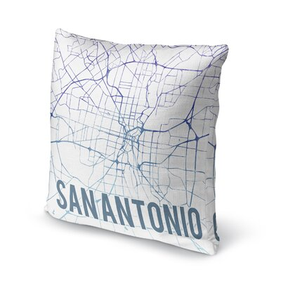 San Antonio Sunset Front Accent Pillow Size: 16 H x 16 W x 5 D, Color: Blue/ Purple/ White