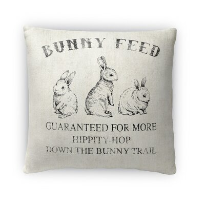 Bunny Feed Throw Pillow Size: 16 H x 16 W x 4 D, Color: Gray