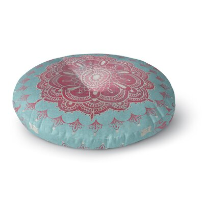 Boho Bloom Round Floor Pillow Size: 26 H x 26 W x 12.5 D, Color: Aqua/Pink