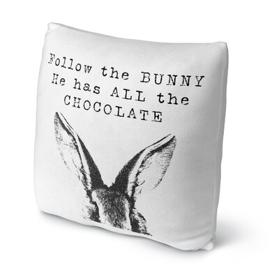 Follow the Bunny Throw Pillow Size: 16