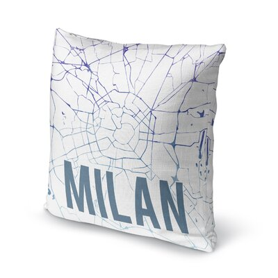Milan Front Accent Pillow Size: 18 H x 18 W x 5 D, Color: Blue/ Purple/ White