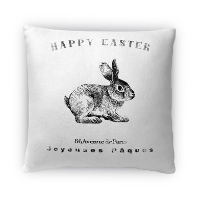 Happy Easter Bunny Throw Pillow Size: 18 H x 18 W x 4 D