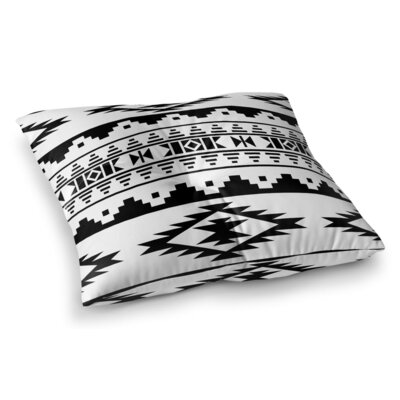 Cherokee Square Floor Pillow Size: 26 H x 26 W x 12.5 D, Color: Light Gray / Black