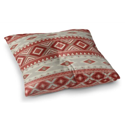 Cabarley Square Floor Pillow Size: 26 H x 26 W x 12.5 D, Color: Red/ Tan