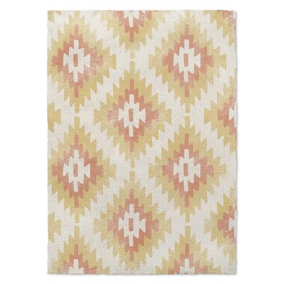 Roberta Cream/Orange/Yellow Area Rug Rug Size: 2' x 3'
