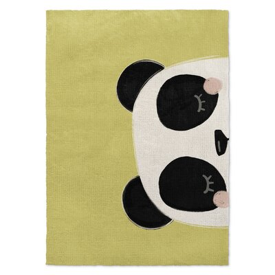 Panda Black/White/Green Area Rug Rug Size: 2 x 3