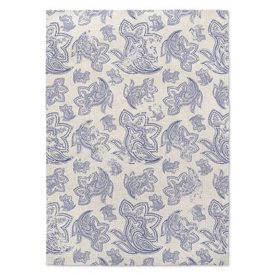 Paisley Destressed Blue Area Rug Rug Size: 5 x 7