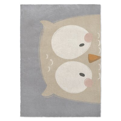 Owl Gray/Cream Area Rug Rug Size: 2 x 3