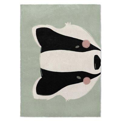 Badger Black/White/Green Area Rug Rug Size: 2 x 3