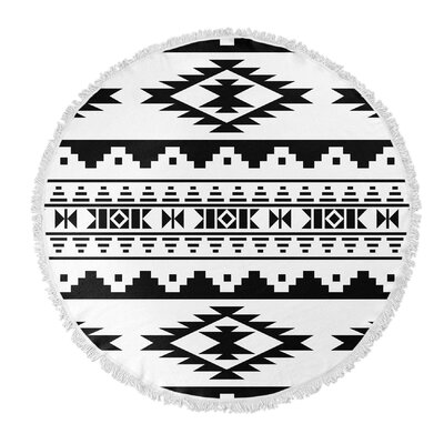 Cherokee Round Beach Towel Color: Black/White