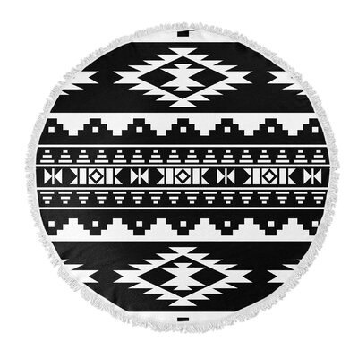 Cherokee Round Beach Towel Color: Black/ White