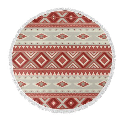 Cabarley Round Beach Towel Color: Red/ Tan