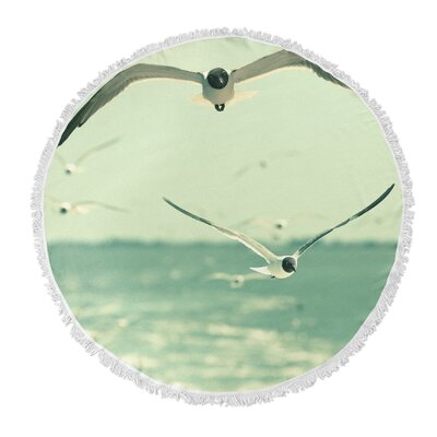Coconut Gulls Round Beach Towel