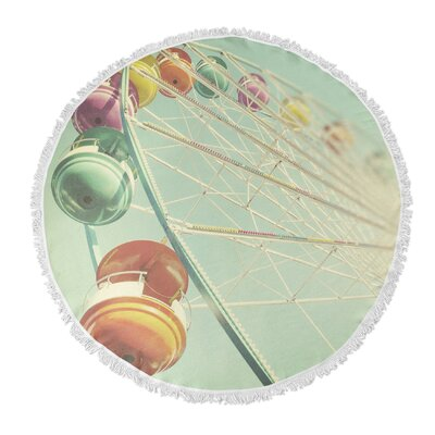 Rainbow Wheel Round Beach Towel