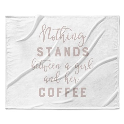 Girl and Coffee Fleece Blanket Size: 90 W x 90 L