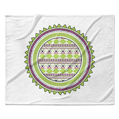 Tribal Fleece Blanket Color: Lime, Size: 50 W x 60 L