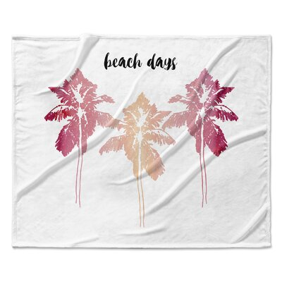 Beach Days Fleece Blanket Color: Pink, Size: 50 W x 60 L
