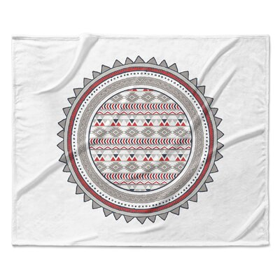 Tribal Fleece Blanket Color: Red, Size: 90 W x 90 L