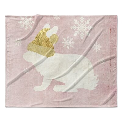 A Christmas Bunny Fleece Blanket Size: 50 W x 60 L
