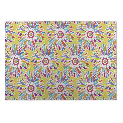Barrientez Fun Floral Doormat Color: Yellow/ Blue/ Red