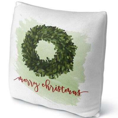 Merry Christmas Throw Pillow Size: 16 H x 16 W x 4 D