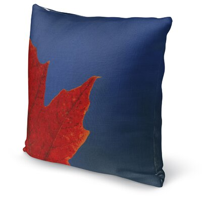 Leaf Accent Pillow Size: 16 H x 16 W x 5 D, Color: Red/ Blue