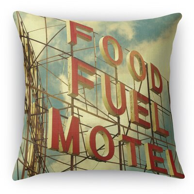 Food Fuel Motel Throw Pillow Size: 16 H x 16 W x 5 D