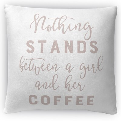 Girl and Coffee Throw Pillow Size: 16 H x 16 W x 4 D