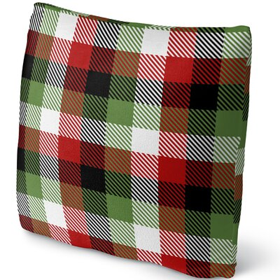 Christmas Plaid Throw Pillow Size: 16 H x 16 W x 4 D