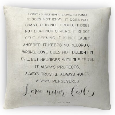 Love Never Fails Throw Pillow Size: 16 H x 16 W x 4 D