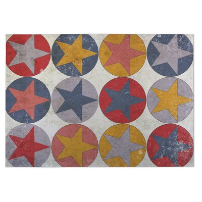 Stars and Circles Doormat Rug Size: 5 x 7