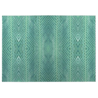 Palms Doormat Color: Blue/Green, Rug Size: 2 x 3