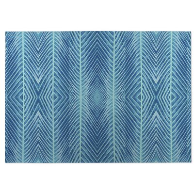 Palms Doormat Color: Blue, Rug Size: 4 x 5