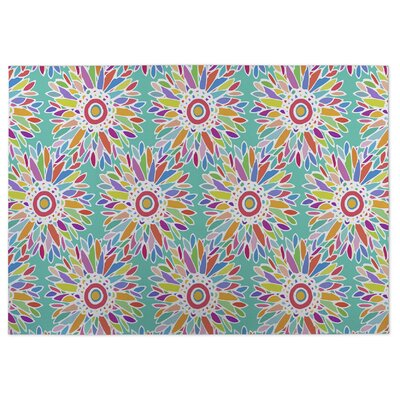 Fun Floral Doormat Color: Green, Rug Size: 2 x 3