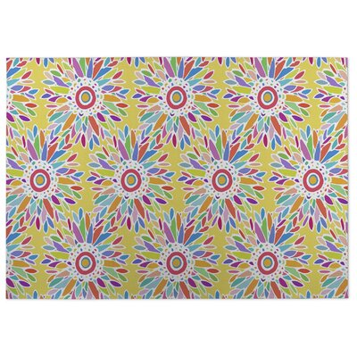 Fun Floral Doormat Color: Yellow, Rug Size: 8 x 10