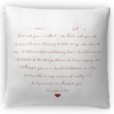Fall in Love Throw Pillow Size: 18 H x 18 W x 4 D