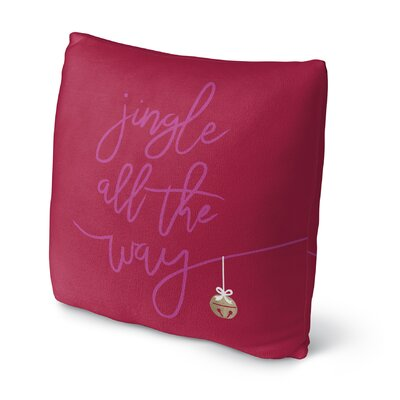 Jingle Throw Pillow Size: 18 H x 18 W x 4 D, Color: Pink