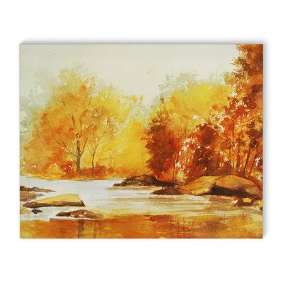 'Autumn Stream' Watercolor Painting Print on Wrapped Canvas Size: 16