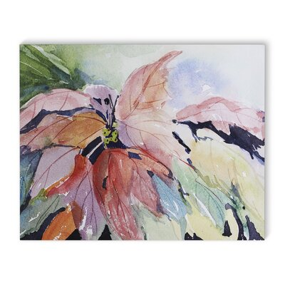 'Abstract Leaves' Watercolor Painting Print on Wrapped Canvas Size: 16