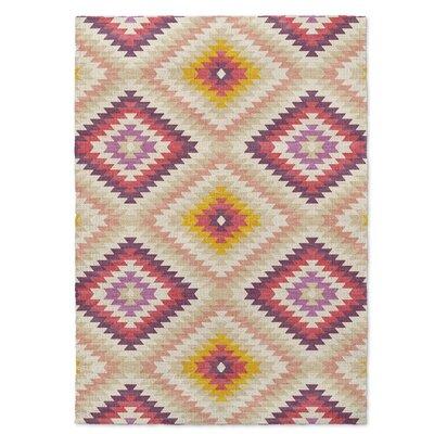 Sulien Beige/Pink Area Rug Rug Size: 5 x 7